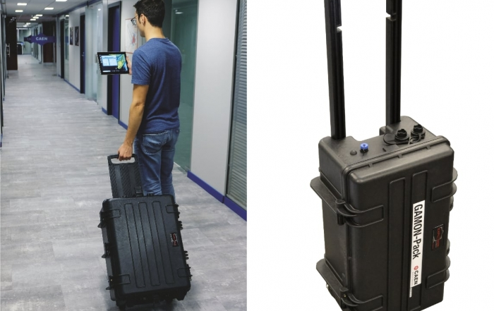 portable radionuclide identifier , a trolley o backpack shaped system for discrete monitoring in crowded areas